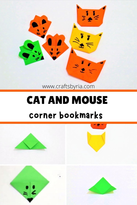diy corner bookmark-mouse and cat bookmark ideas