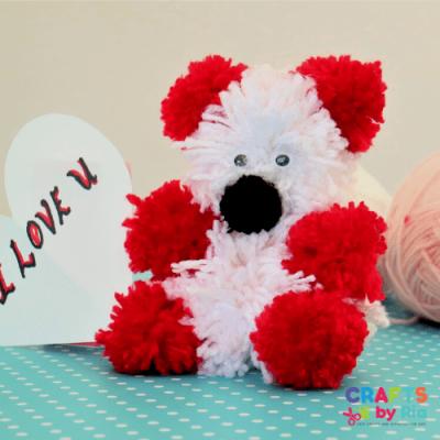 how to make a pom pom teddy bear-featured image