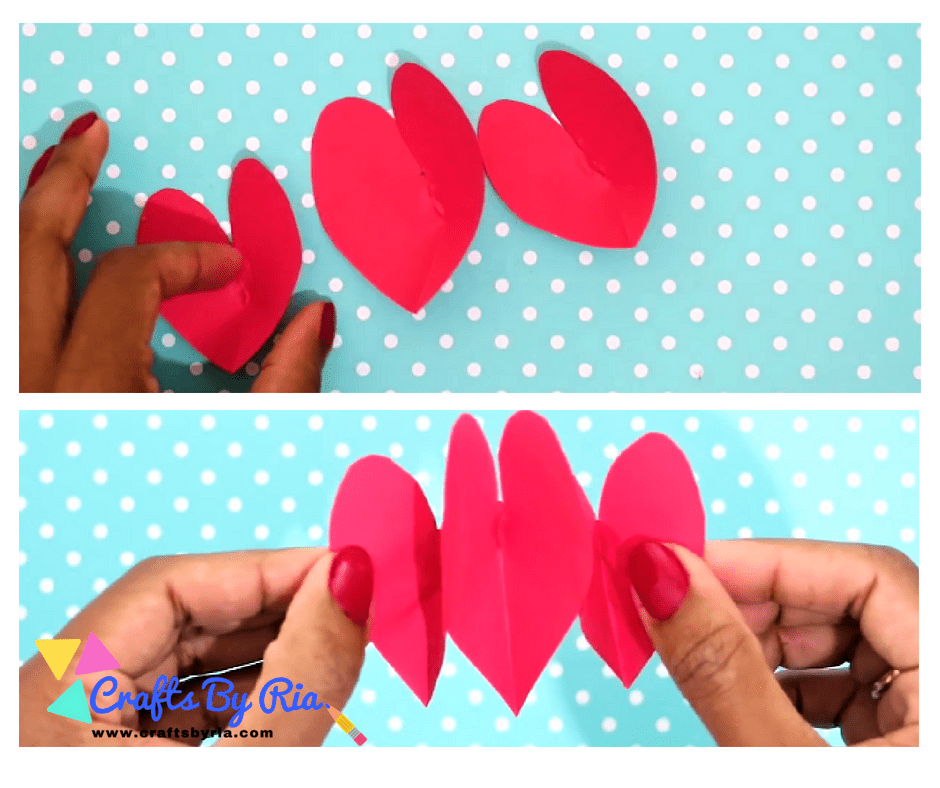 DIY VALENTINES DAY CARD- step-cut red hearts
