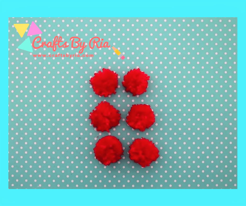 diy teddy bear-make 6 red pom poms