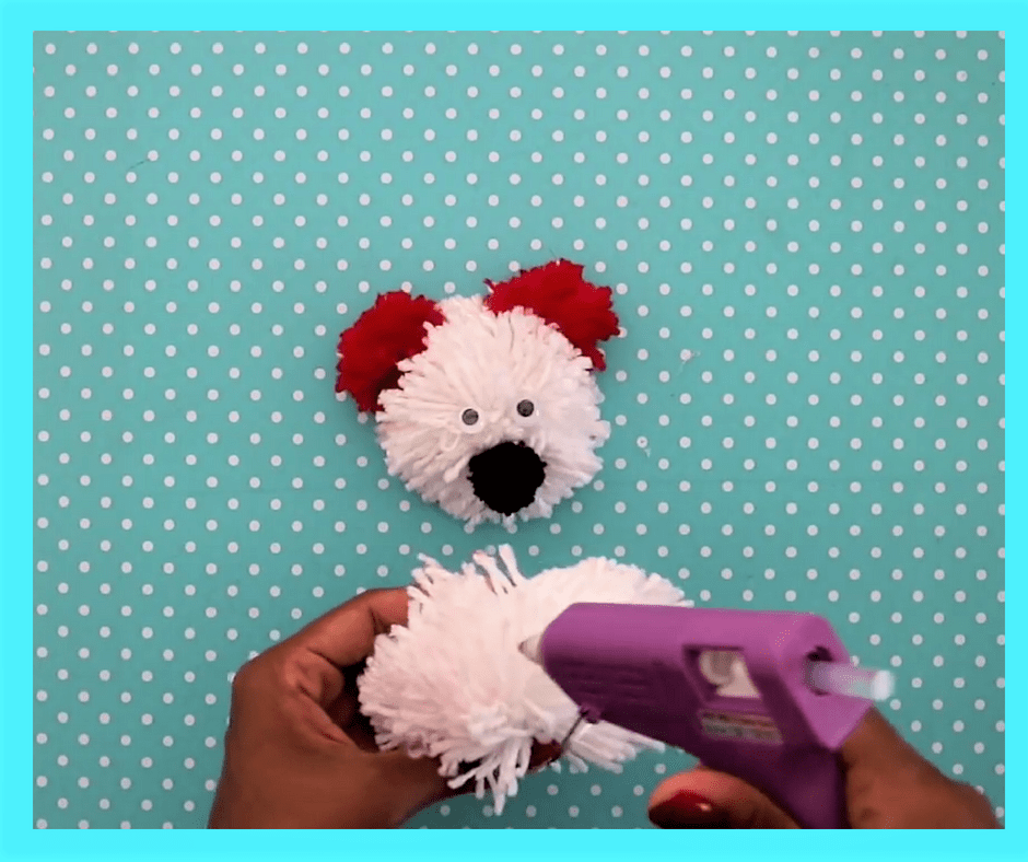 diy teddy bear-stick all the pom poms together
