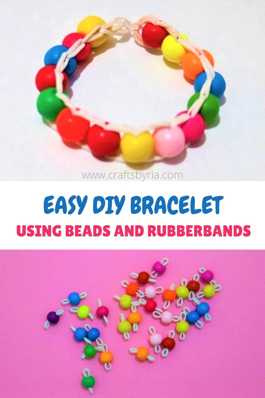easy DIY bead rubber band bracelet
