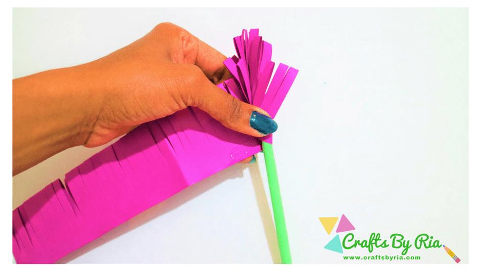 paper lavender-stick the purple paper on the stem