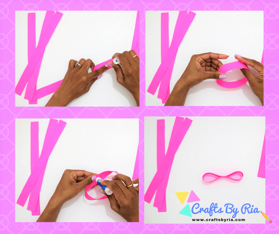 Easy Paper Bow steps- Make an 8 shape out of the paper strip