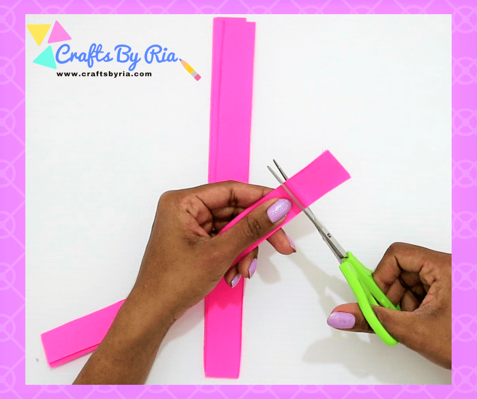 Easy Paper Bow steps- cut 4 cms out of one set of paper strips