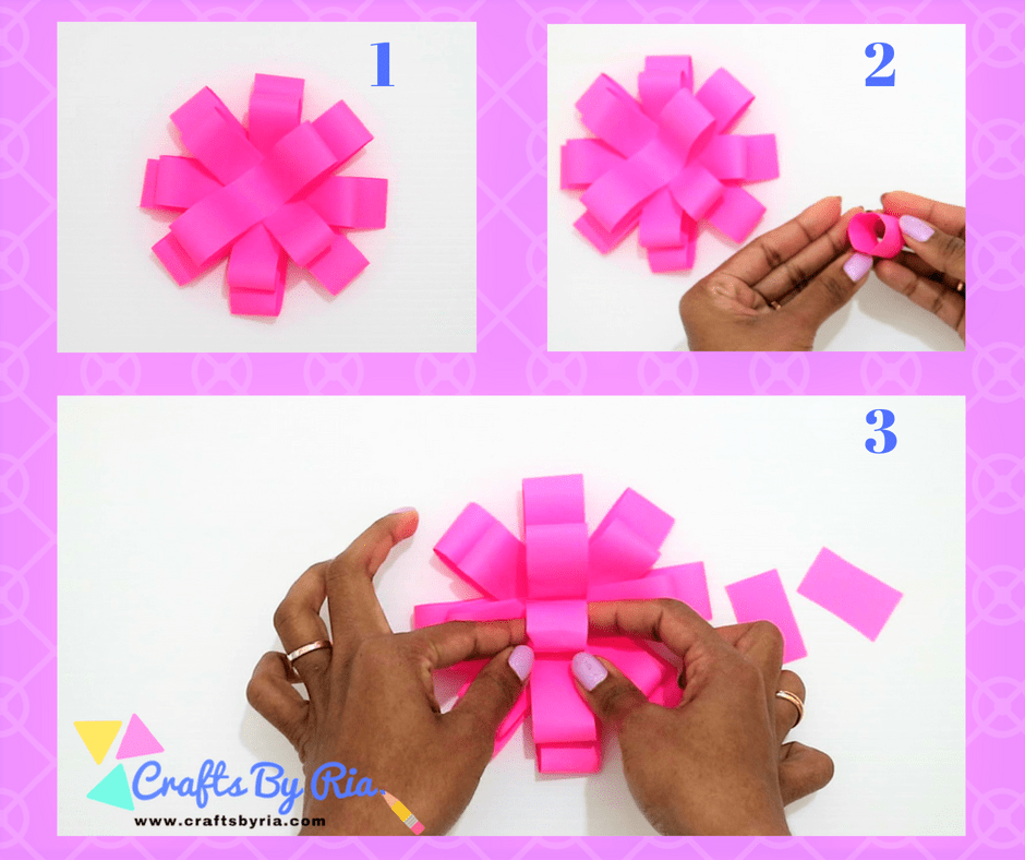 Easy Paper Bow steps- stick a small roll at the centre