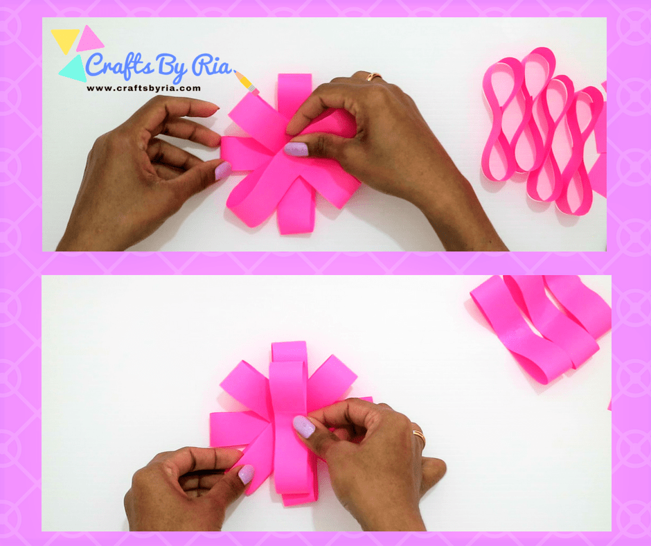 Easy Paper Bow steps- stick the 8 shapes together one by one