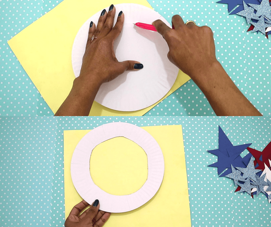 4th of july easy crafts-cut the paper plate