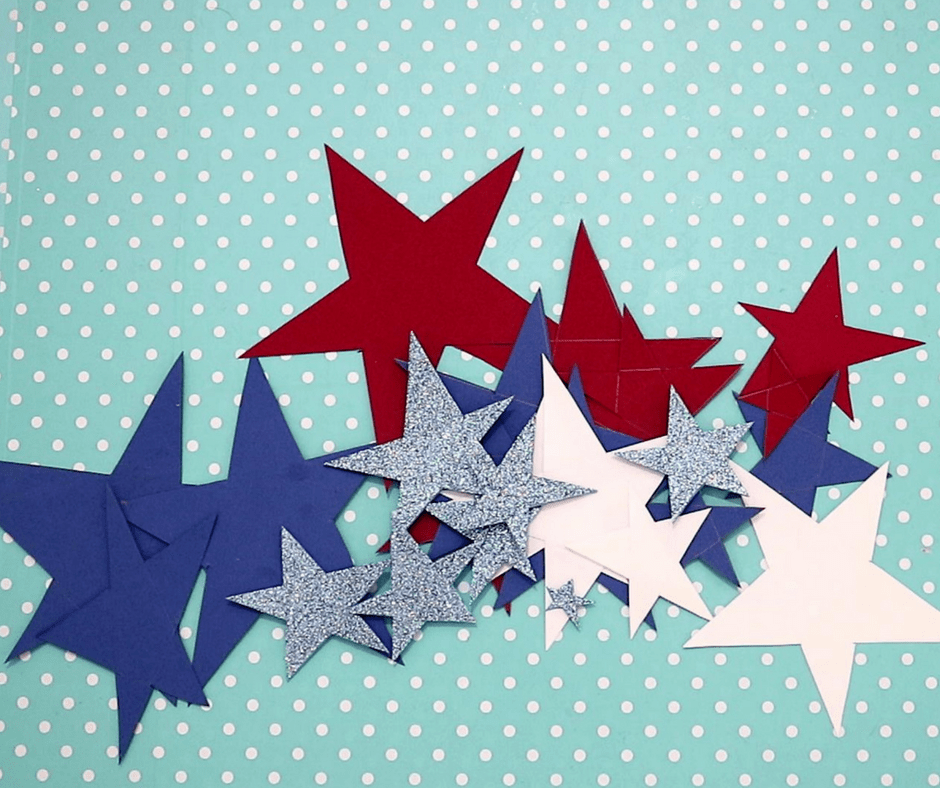 4th of july easy crafts-make a lot of stars with blue, white and red