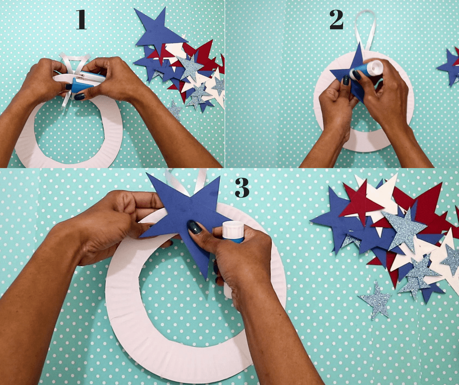 4th of july easy crafts-staple a ribbon