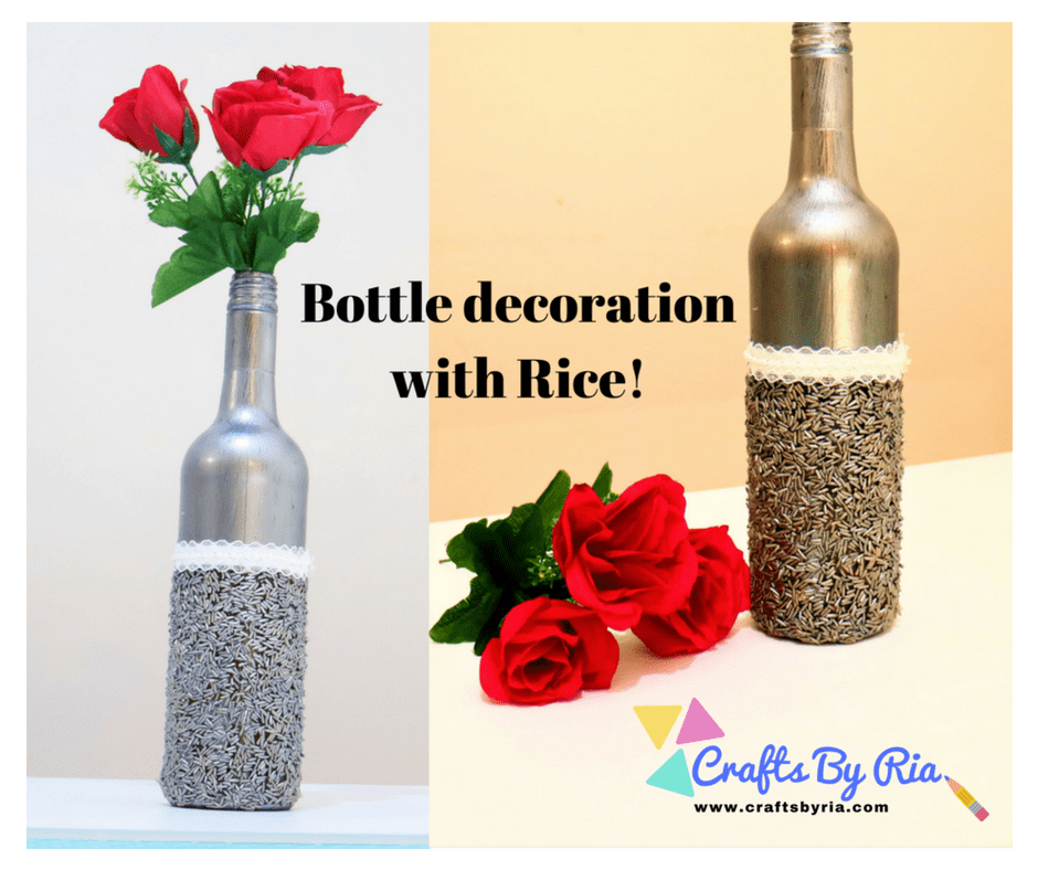 bottle decor diy with rice- crafts by ria