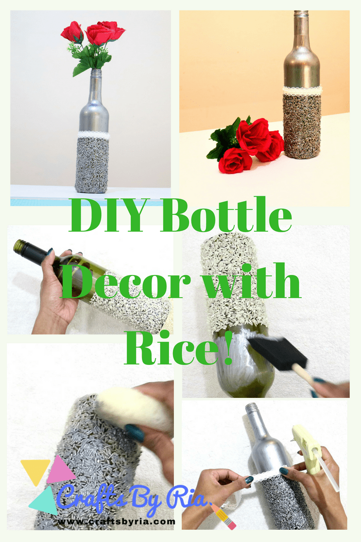 bottle decor diy with rice