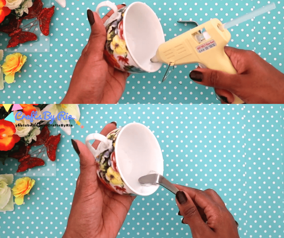 how to make a floating tea cup-stick the spoon on cup