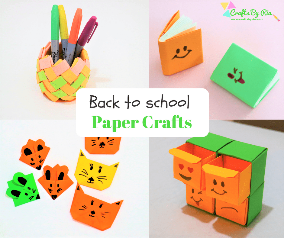 back to school paper crafts for kids-origami organiser-fb