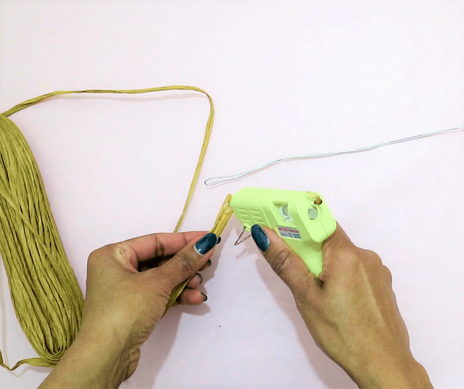 diy branch decor- cover the metal wire with a twisted paper rope