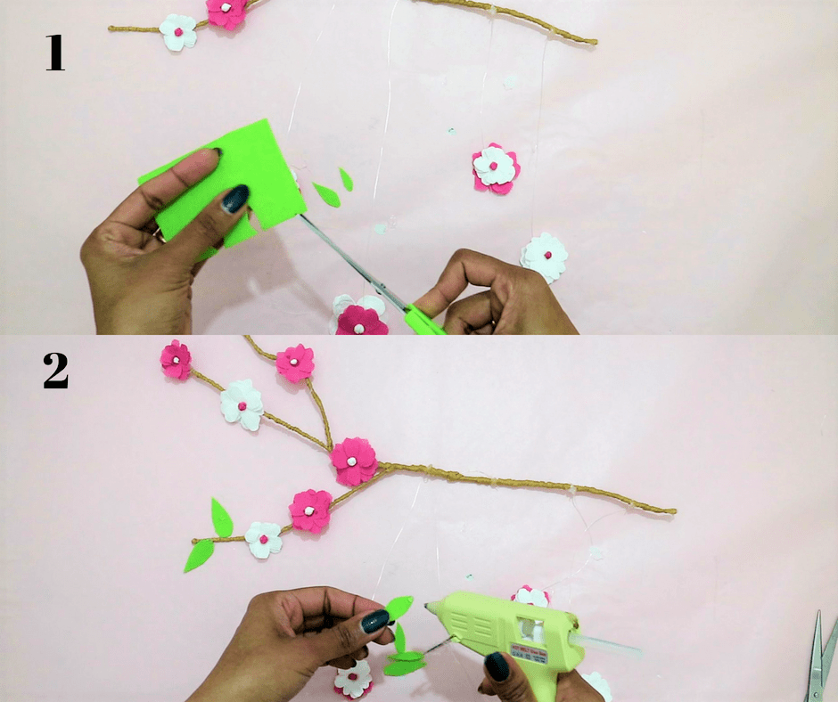 diy branch decor- stick the felt paper leaf
