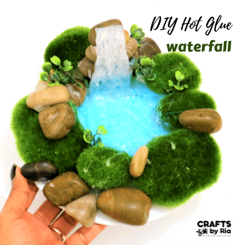 diy hot glue waterfall craft