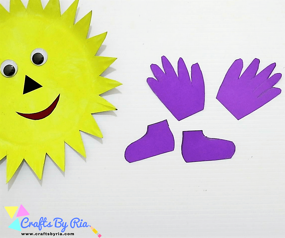 paper plate sun-cut two hands and shoes for the dancing sun