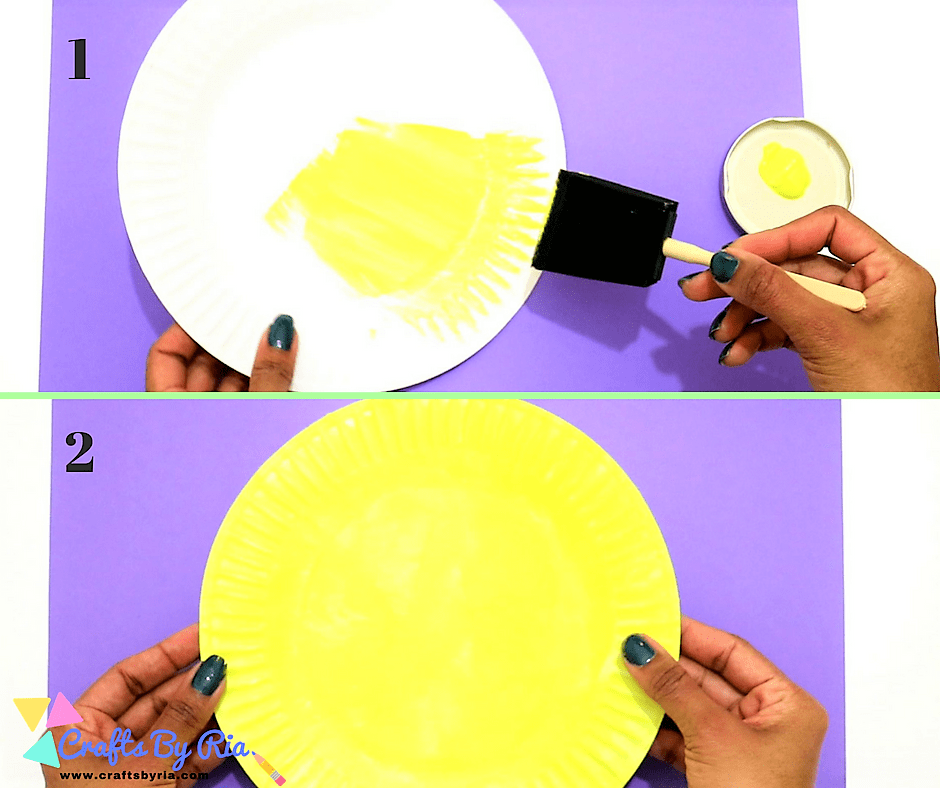 paper plate sun-paint a paper plate with yellow colour