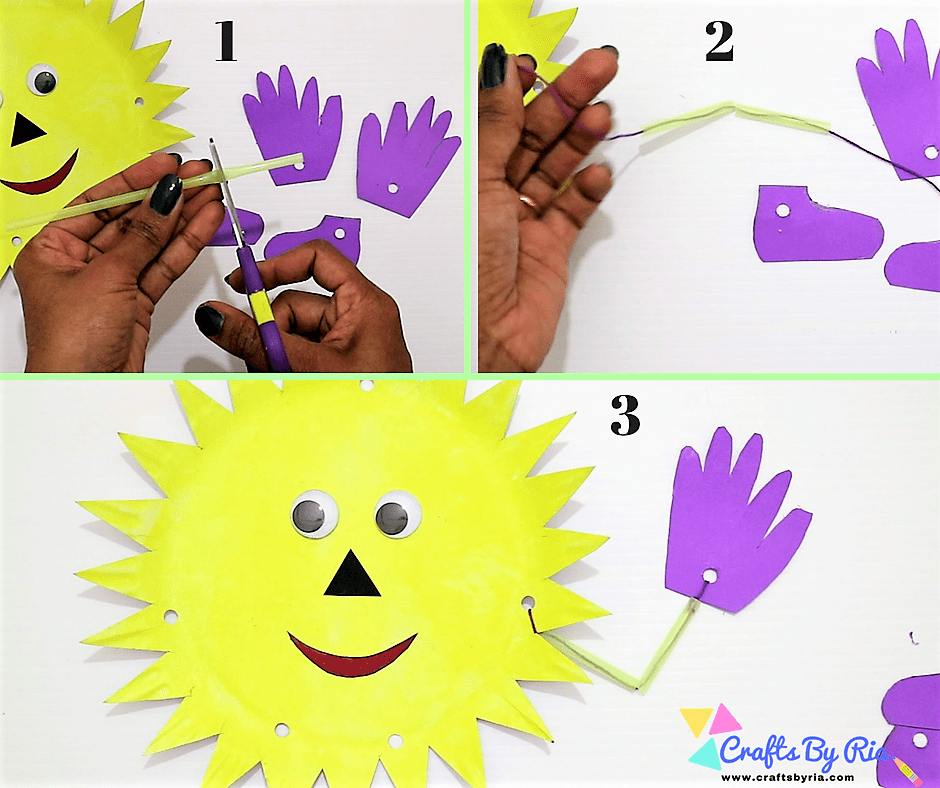 paper plate sun-string the straw pieces