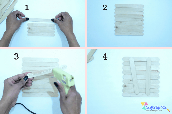 popsicle stick house tutorial-building a wall