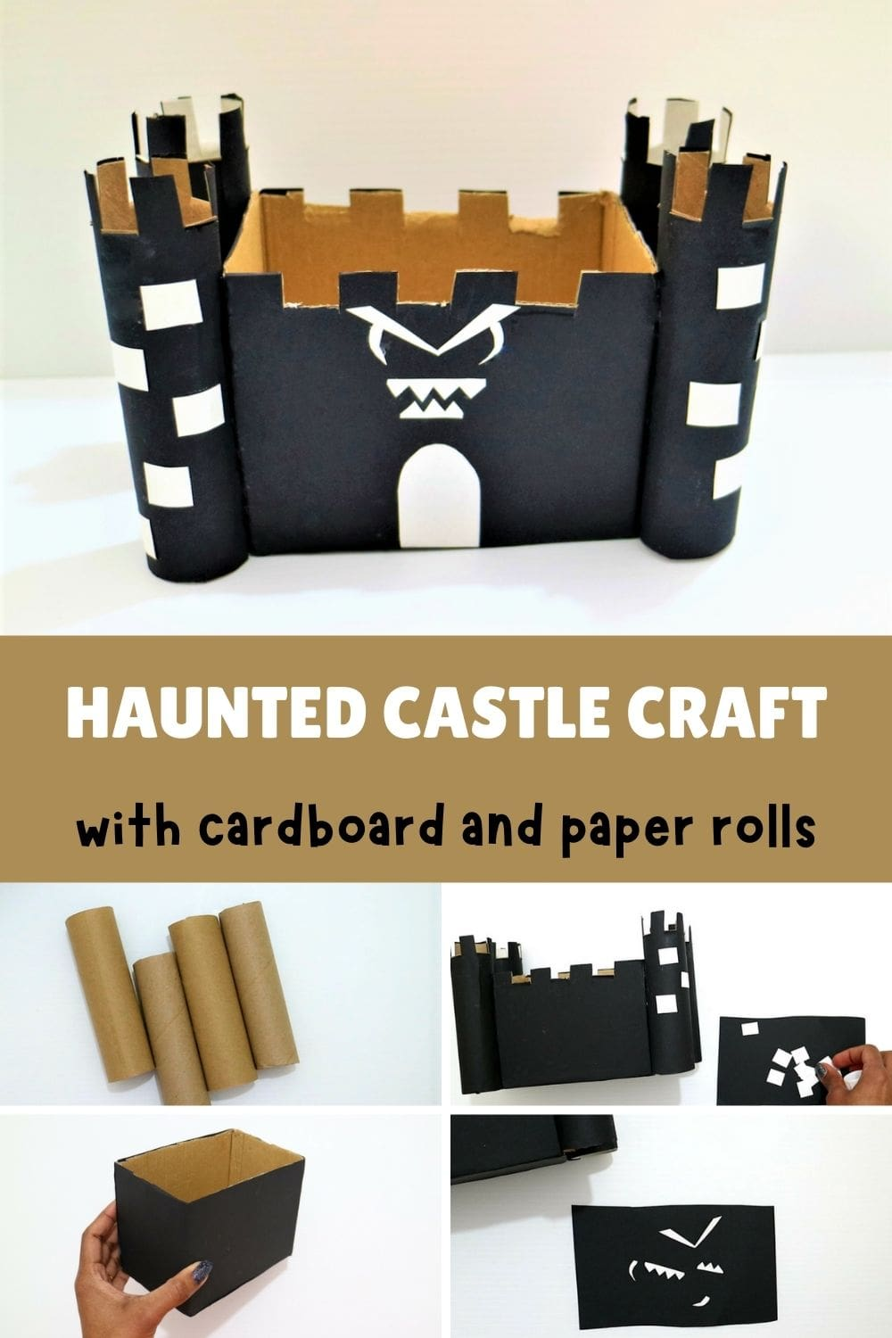 Halloween haunted house craft for kids-Pinterest image