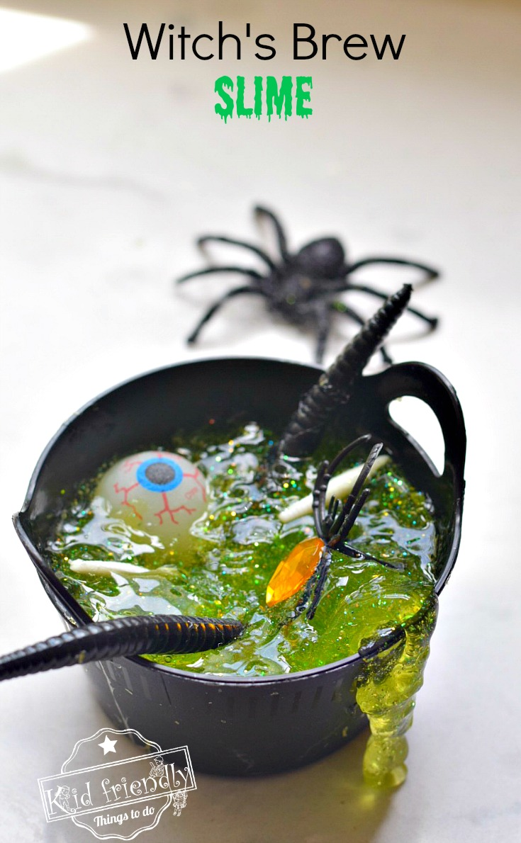 witchs-brew glitter halloween slime recipe-kid friendly things to do