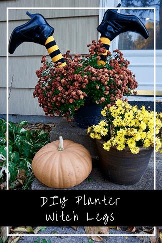 cheap Halloween decoration ideas- planter witch legs-legallycraftyblog