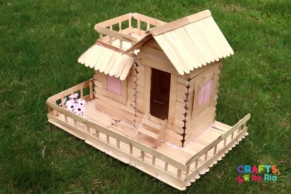 easy popsicle stick house tutorial