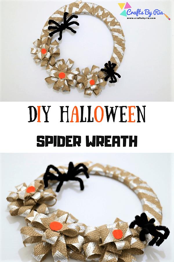 diy halloween spider wreath-pin