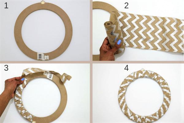 diy halloween wreath-step1-wrap the burlap