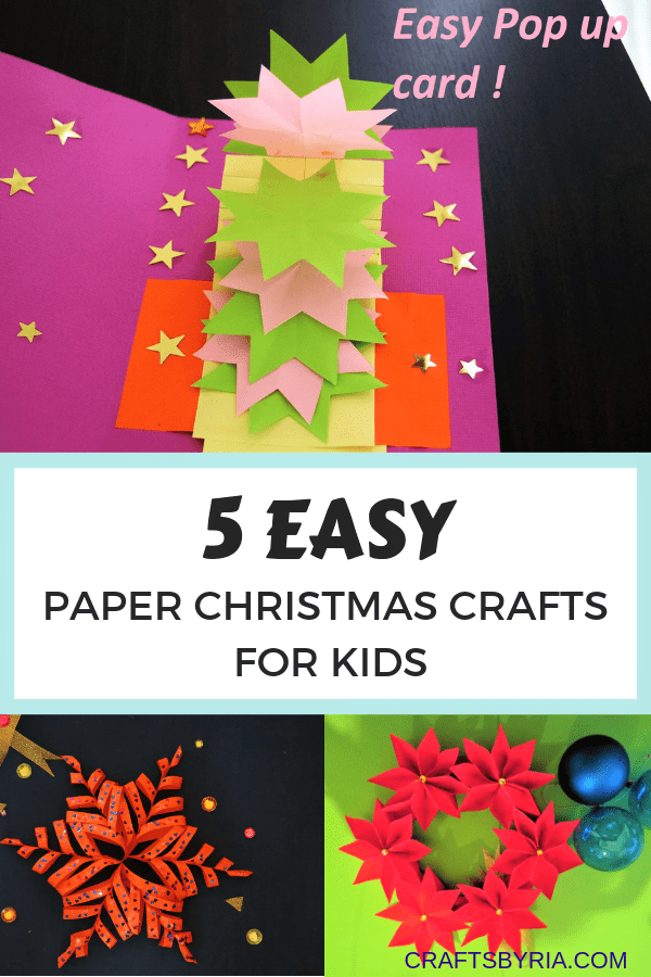 5 EASY PAPER CHRISTMAS CRAFTS FOR KIDS- pin1
