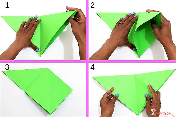 Surprise Wreath Christmas card- fold it in diamond shape-step2