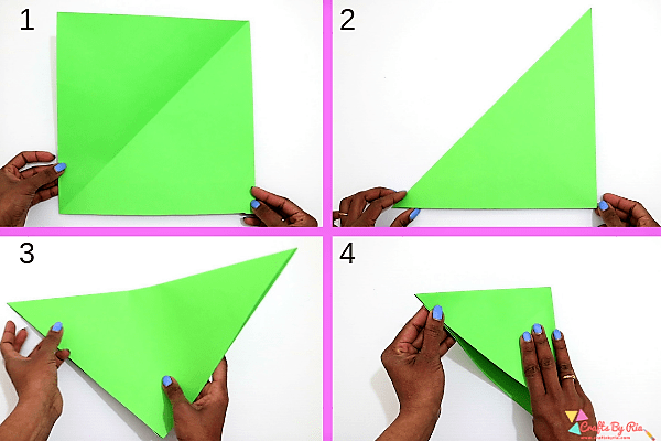 Surprise Wreath Christmas card- fold the paper diagonally-step1