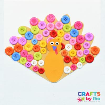 Thanksgiving button turkey craft-featured image