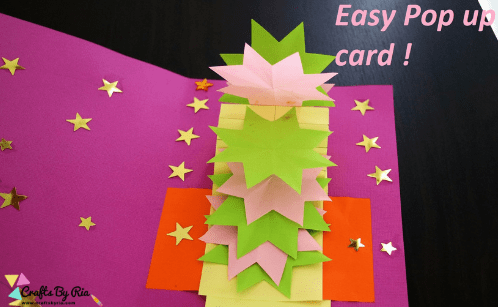 This easy popup card is one of the best paper Christas crafts for kids and adults