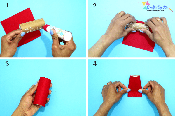 Step 1 to make a toilet roll Santa-Roll the toilet roll on a felt paper with glue