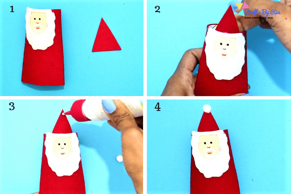 step 4 of toilet roll santa- make a hat for the santa