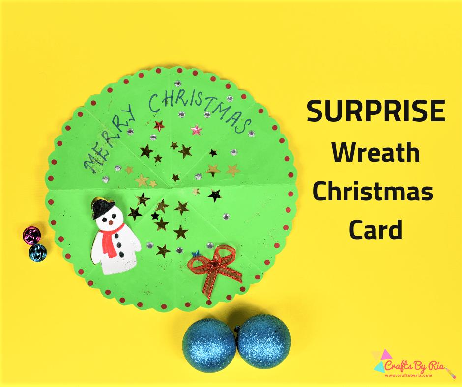 surprise wreath Christmas card