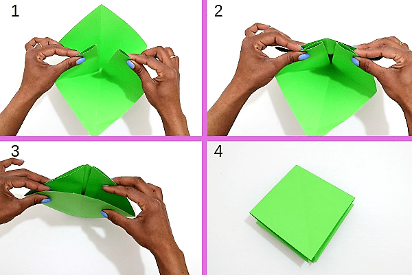 surprise wreath christmas card-fold the paper along the creases-step5