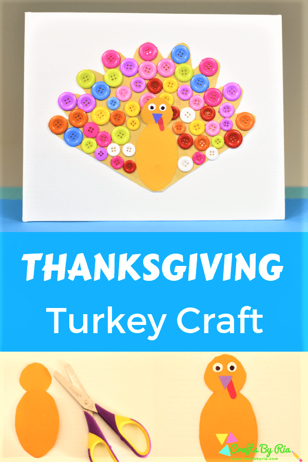 thanksgiving turkey craft with buttons-pin1
