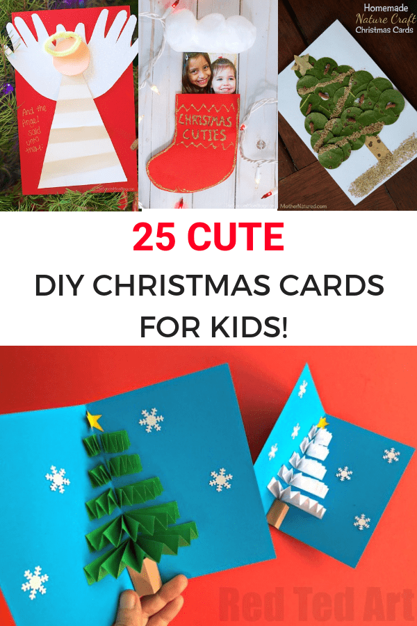 25 cute diy christmas card ideas for kids-Image for Pinterest