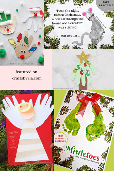 These handprint and footprint cards are cute homemade christmas card ideas for kids