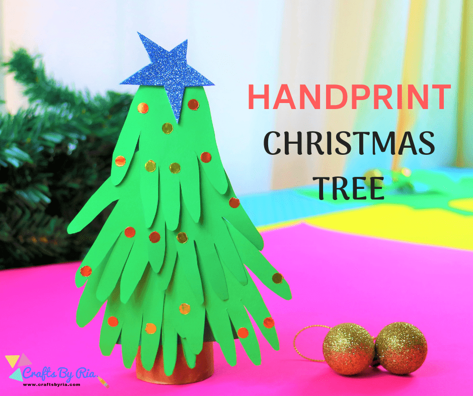 handprint christmas tree pic for Facebook