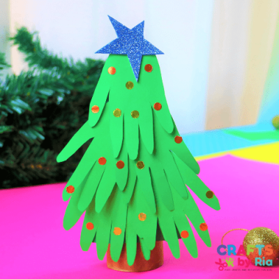 handprint christmas tree craft-featured image