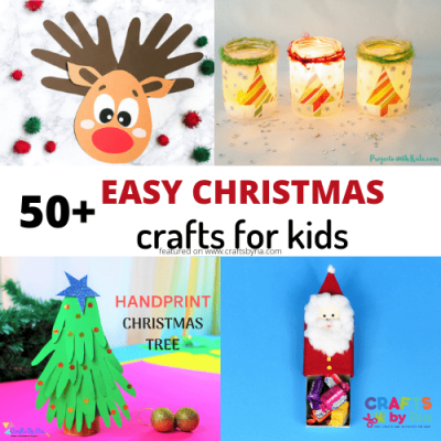 50+ easy christmas crafts for kids -featured image