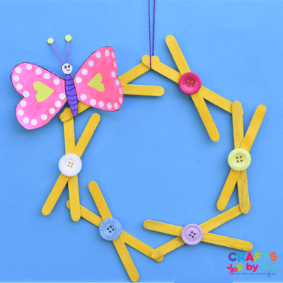 heart butterfly popsicle stick wreath craft for kids-featured image