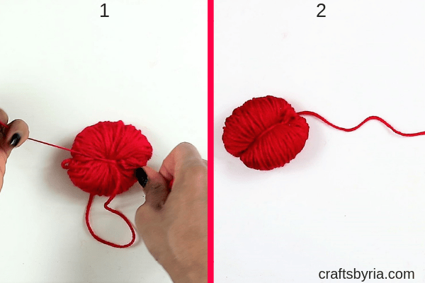 how to make a pom pom heart with beads-step2
