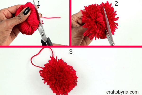 how to make a pom pom heart with beads-trim the yarn