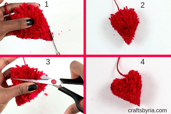how to make a pom pom heart with beads-trim the yarn into a heart shape